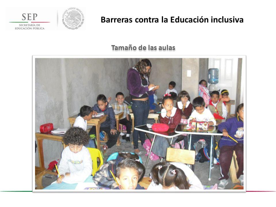 Tamaño de las aulas Barreras contra la Educación inclusiva