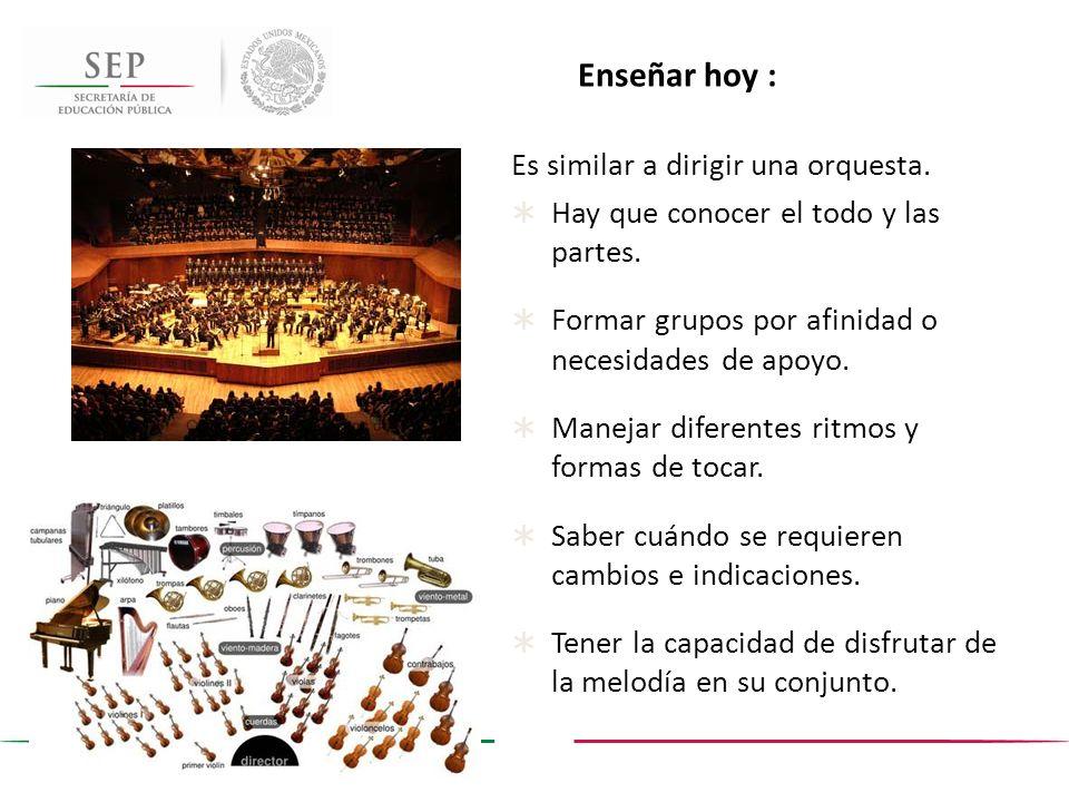 Enseñar hoy : Es similar a dirigir una orquesta. Hay que conocer el todo y las partes. Formar grupos por afinidad o necesidades de apoyo. Manejar dife