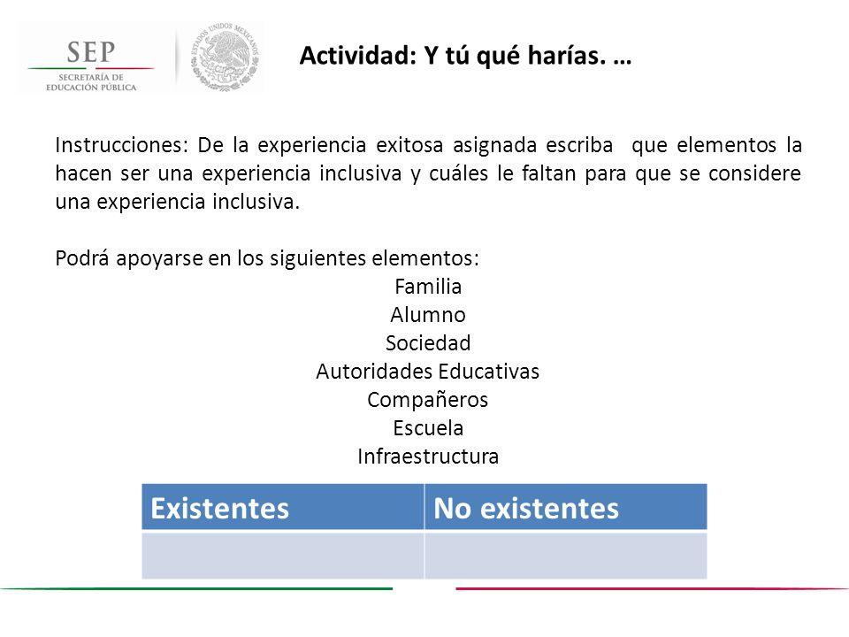 Actividad: Y tú qué harías. … Instrucciones: De la experiencia exitosa asignada escriba que elementos la hacen ser una experiencia inclusiva y cuáles