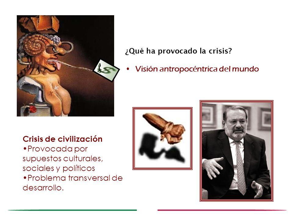 ¿Qué ha provocado la crisis? Visión antropocéntrica del mundo Crisis de civilización Provocada por supuestos culturales, sociales y políticos Problema