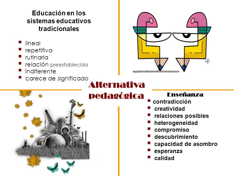 Enseñanza contradicción creatividad relaciones posibles heterogeneidad compromiso descubrimiento capacidad de asombro esperanza calidad Educación en l