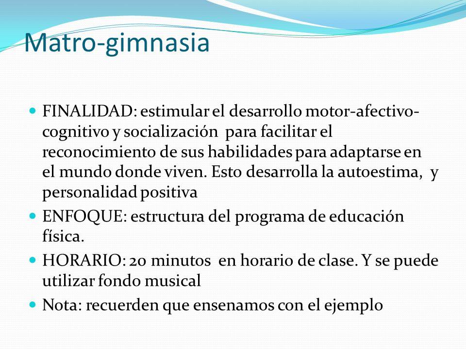 Matro-gimnasia FINALIDAD: estimular el desarrollo motor-afectivo- cognitivo y socialización para facilitar el reconocimiento de sus habilidades para a