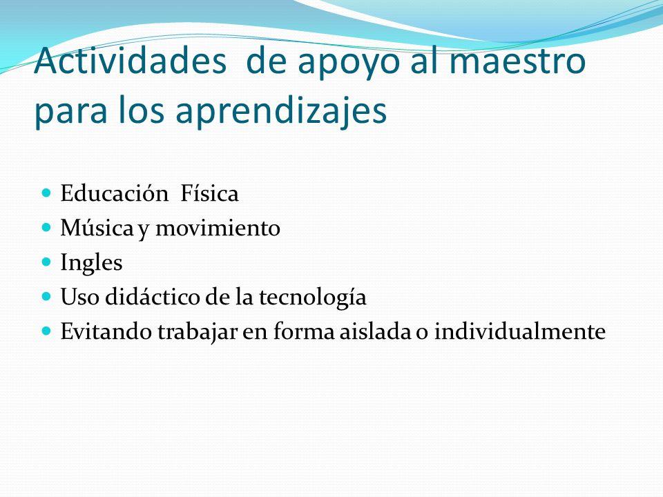 Actividades de apoyo al maestro para los aprendizajes Educación Física Música y movimiento Ingles Uso didáctico de la tecnología Evitando trabajar en
