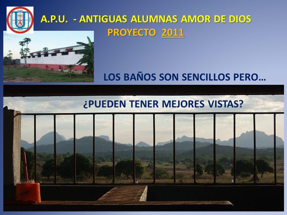 LOS BAÑOS SON SENCILLOS PERO… ¿PUEDEN TENER MEJORES VISTAS? A.P.U. - ANTIGUAS ALUMNAS AMOR DE DIOS PROYECTO 2011