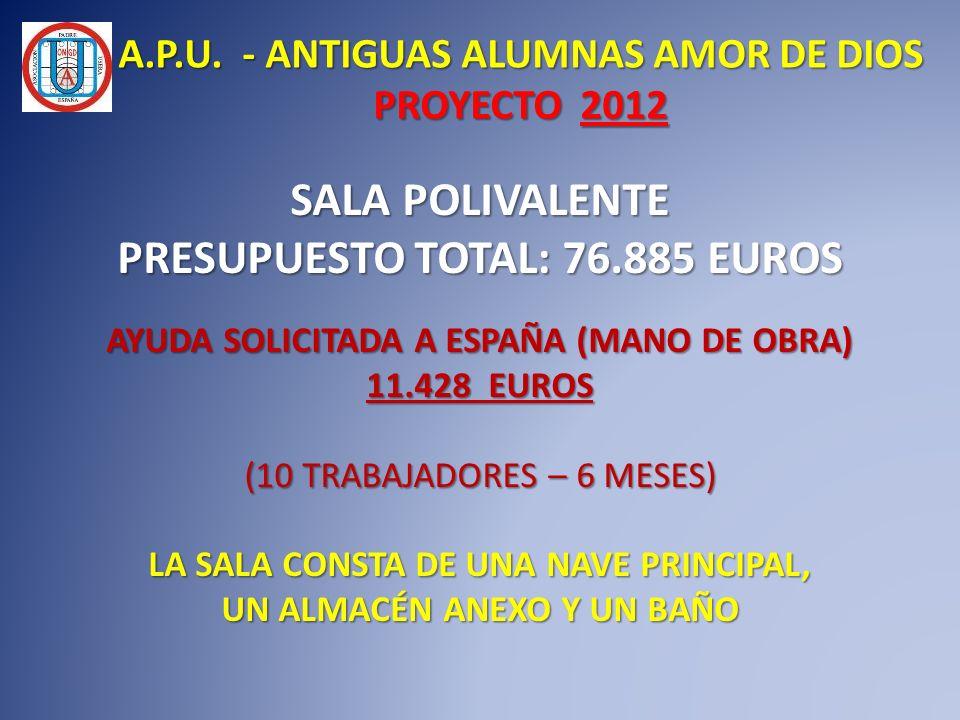 A.P.U. - ANTIGUAS ALUMNAS AMOR DE DIOS PROYECTO 2012 SALA POLIVALENTE PRESUPUESTO TOTAL: 76.885 EUROS AYUDA SOLICITADA A ESPAÑA (MANO DE OBRA) 11.428