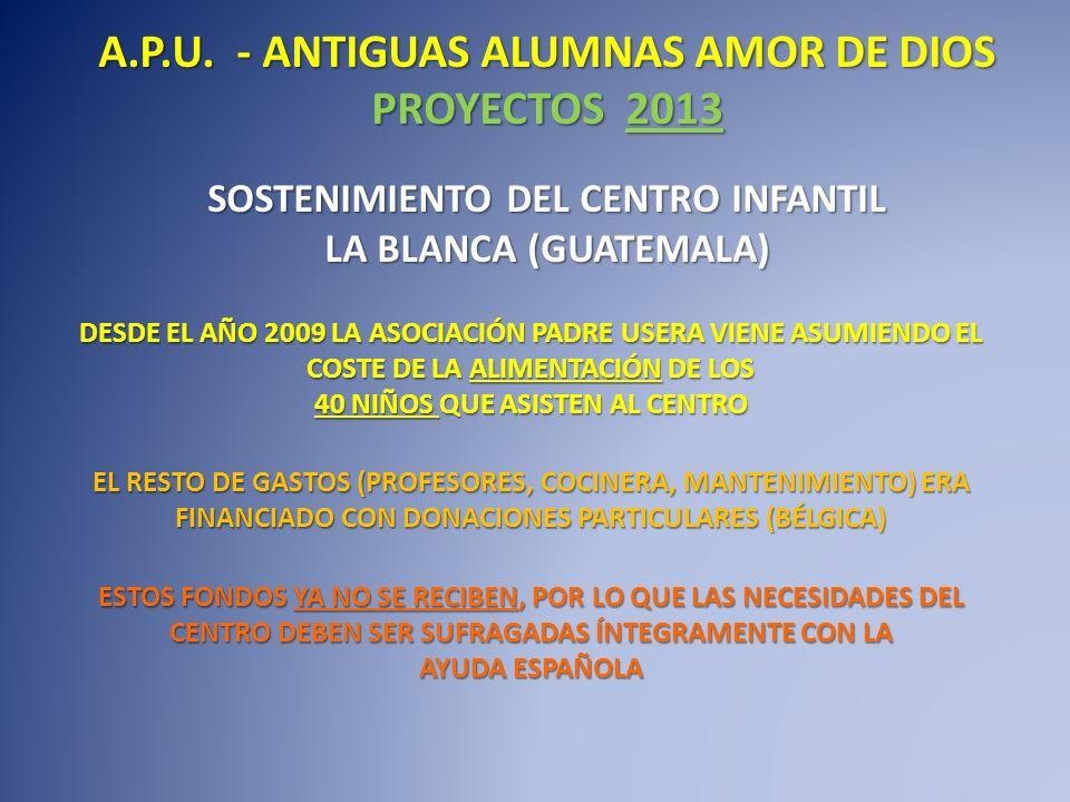 SOSTENIMIENTO DEL CENTRO INFANTIL LA BLANCA (GUATEMALA) DESDE EL AÑO 2009 LA ASOCIACIÓN PADRE USERA VIENE ASUMIENDO EL COSTE DE LA ALIMENTACIÓN DE LOS