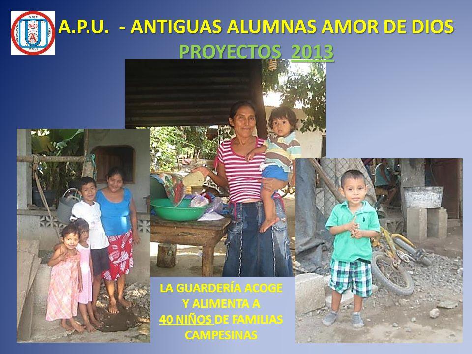 LA GUARDERÍA ACOGE Y ALIMENTA A 40 NIÑOS DE FAMILIAS CAMPESINAS A.P.U. - ANTIGUAS ALUMNAS AMOR DE DIOS PROYECTOS 2013
