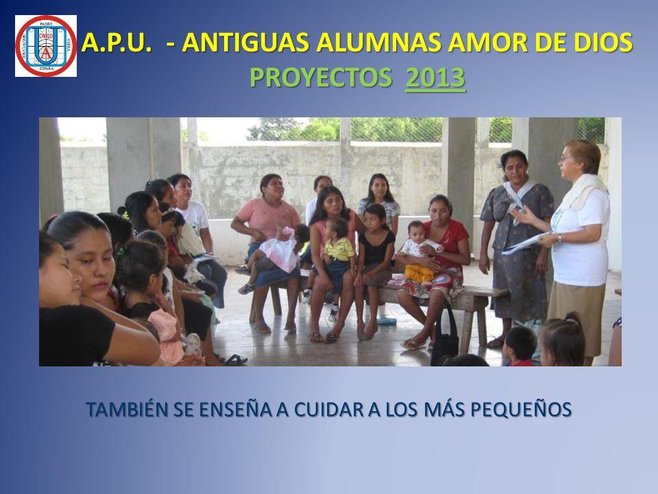 TAMBIÉN SE ENSEÑA A CUIDAR A LOS MÁS PEQUEÑOS A.P.U. - ANTIGUAS ALUMNAS AMOR DE DIOS PROYECTOS 2013