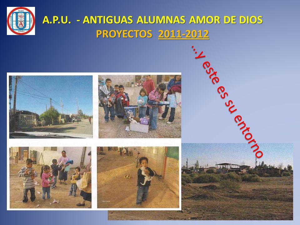 A.P.U. - ANTIGUAS ALUMNAS AMOR DE DIOS PROYECTOS 2011-2012 …y este es su entorno …y este es su entorno