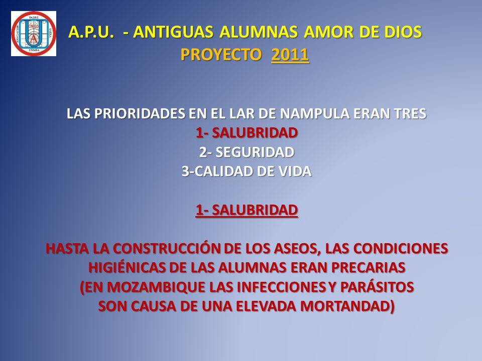 LAS PRIORIDADES EN EL LAR DE NAMPULA ERAN TRES 1- SALUBRIDAD 2- SEGURIDAD 3-CALIDAD DE VIDA 1- SALUBRIDAD HASTA LA CONSTRUCCIÓN DE LOS ASEOS, LAS COND