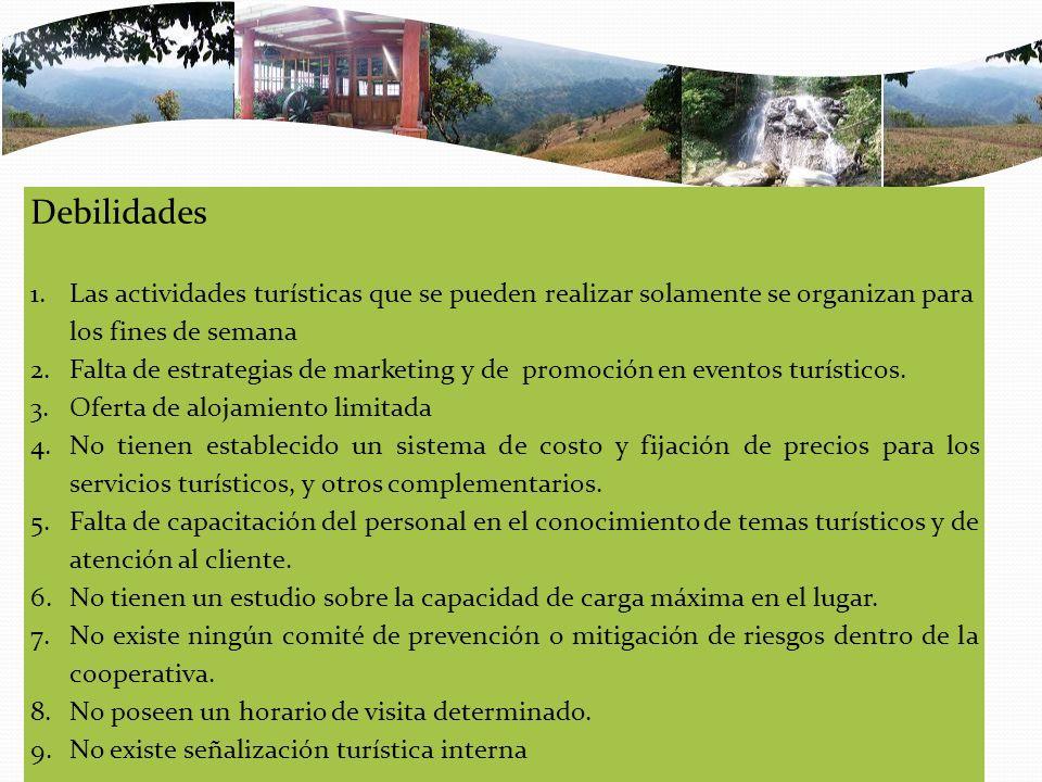 Debilidades 1.Las actividades turísticas que se pueden realizar solamente se organizan para los fines de semana 2.Falta de estrategias de marketing y de promoción en eventos turísticos.