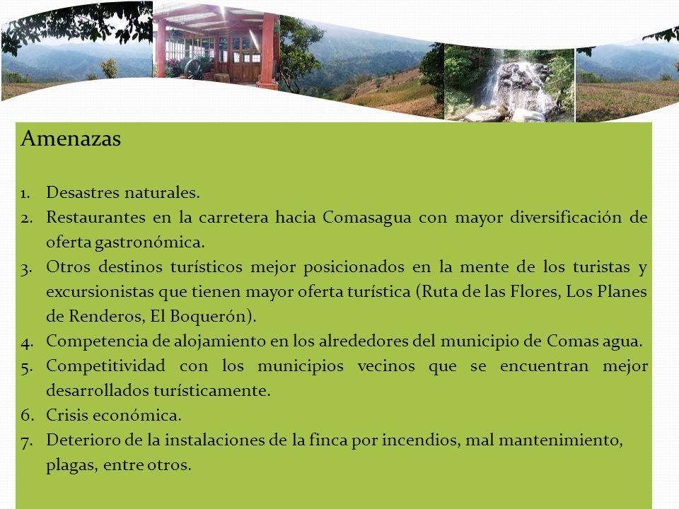 Amenazas 1.Desastres naturales. 2.Restaurantes en la carretera hacia Comasagua con mayor diversificación de oferta gastronómica. 3.Otros destinos turí