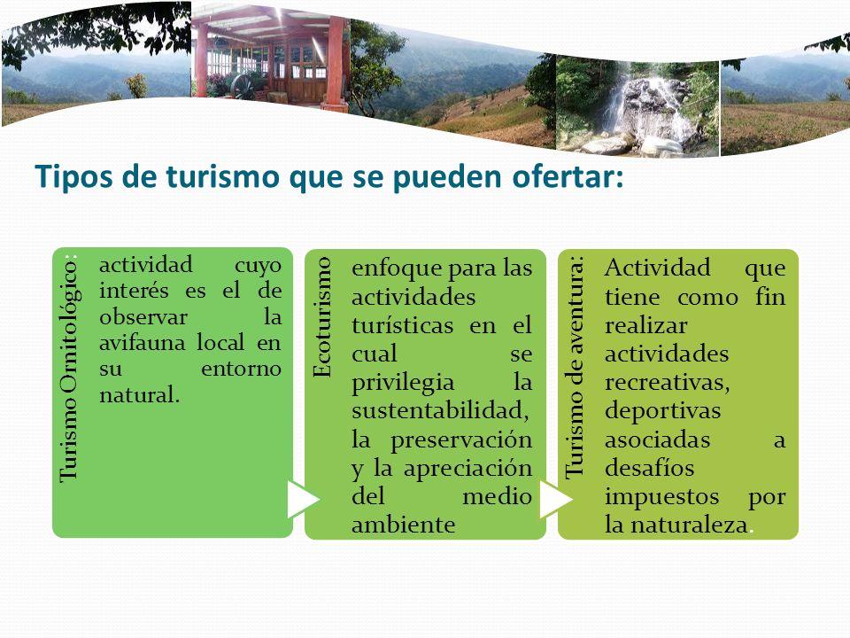 Tipos de turismo que se pueden ofertar: Turismo Ornitológico: actividad cuyo interés es el de observar la avifauna local en su entorno natural. Ecotur