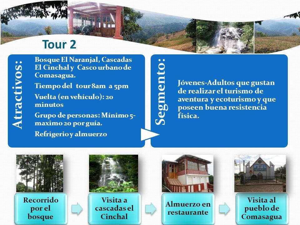Tour 2 Atractivos: Bosque El Naranjal, Cascadas El Cinchal y Casco urbano de Comasagua. Tiempo del tour 8am a 5pm Vuelta (en vehículo): 20 minutos Gru