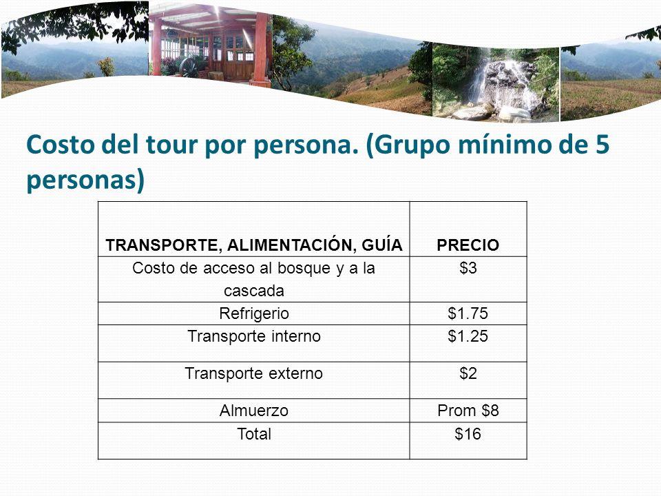 Costo del tour por persona. (Grupo mínimo de 5 personas) TRANSPORTE, ALIMENTACIÓN, GUÍA PRECIO Costo de acceso al bosque y a la cascada $3 Refrigerio$