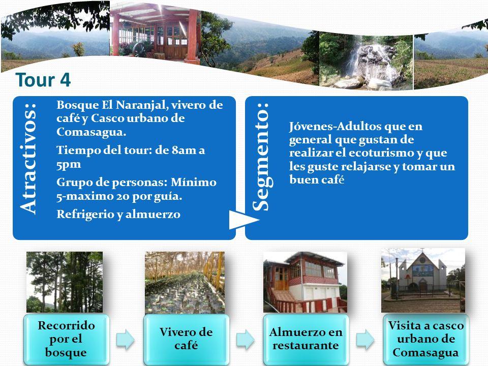Tour 4 Atractivos: Bosque El Naranjal, vivero de café y Casco urbano de Comasagua. Tiempo del tour: de 8am a 5pm Grupo de personas: Mínimo 5-maximo 20
