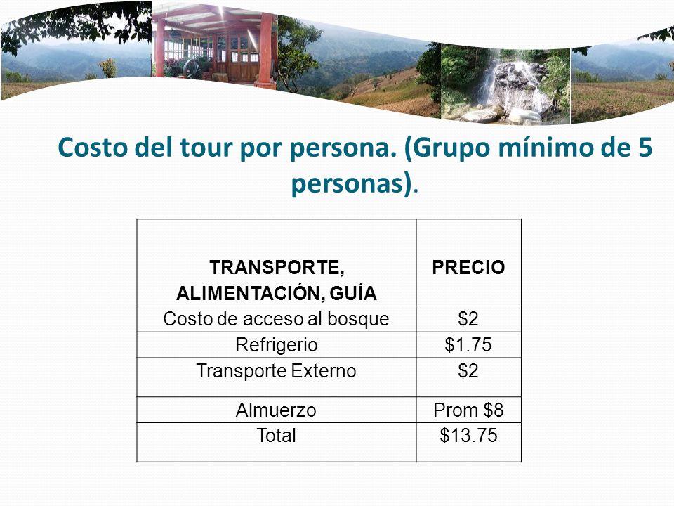 Costo del tour por persona. (Grupo mínimo de 5 personas). TRANSPORTE, ALIMENTACIÓN, GUÍA PRECIO Costo de acceso al bosque$2 Refrigerio$1.75 Transporte