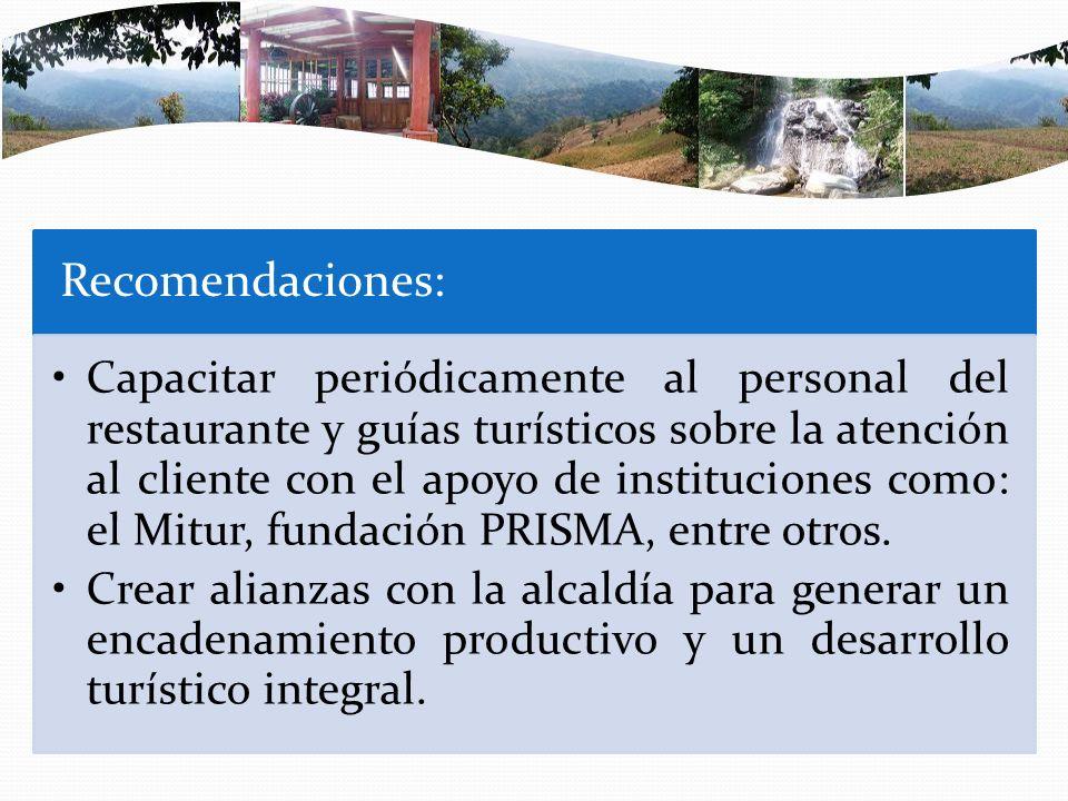 Recomendaciones: Capacitar periódicamente al personal del restaurante y guías turísticos sobre la atención al cliente con el apoyo de instituciones co
