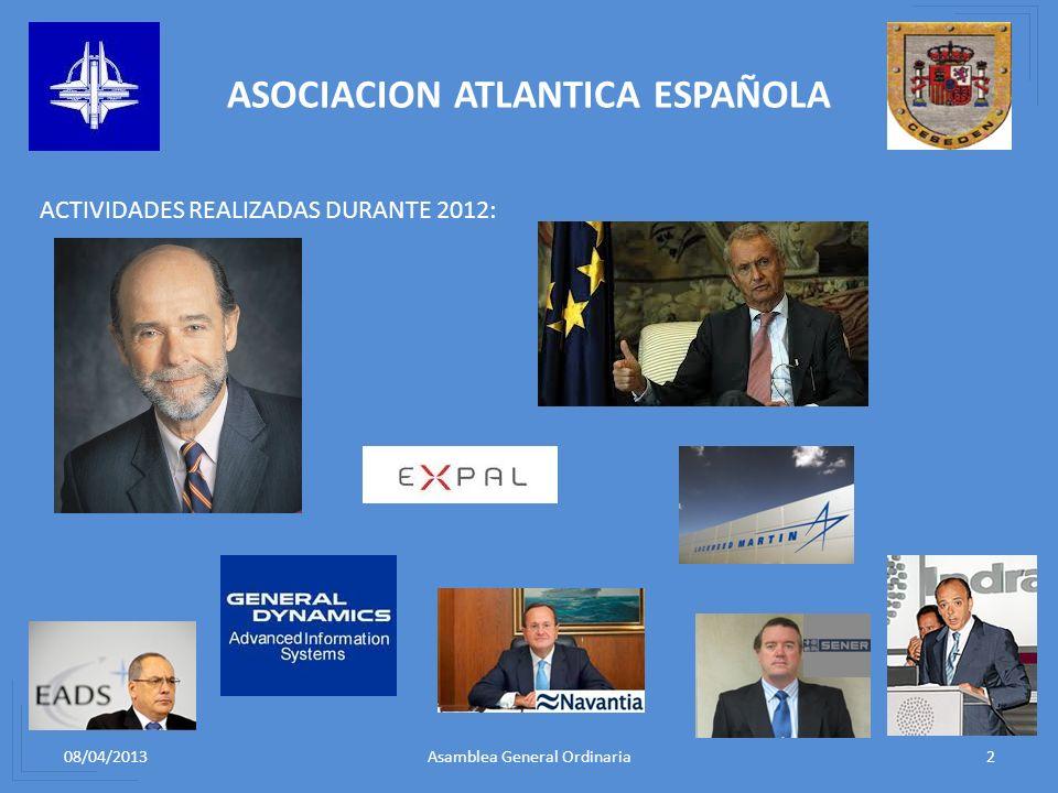 08/04/20132Asamblea General Ordinaria ASOCIACION ATLANTICA ESPAÑOLA ACTIVIDADES REALIZADAS DURANTE 2012: 1.ALMUERZO CON REPRESENTANTES DE LAS INDUSTRI