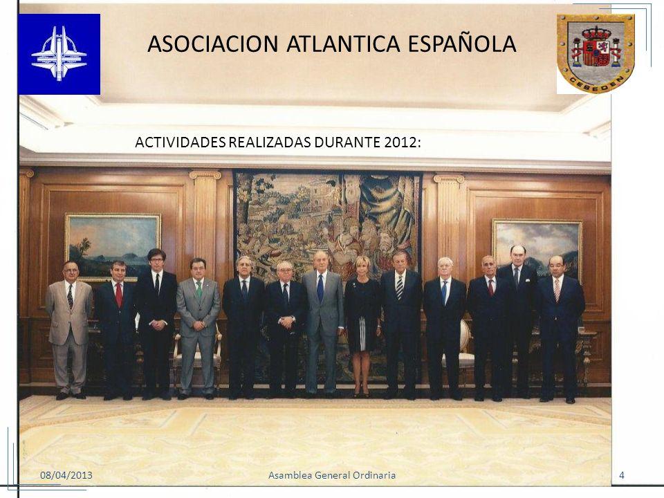 08/04/20134Asamblea General Ordinaria ASOCIACION ATLANTICA ESPAÑOLA 3.AUDIENCIA CON S.M. EL REY. El pasado 25 de Julio, S.M. el Rey, recibió en el Pal