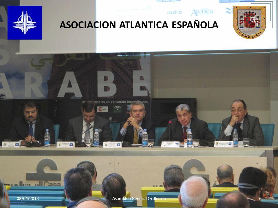 08/04/20136Asamblea General Ordinaria ASOCIACION ATLANTICA ESPAÑOLA 5.JORNADA DE DEBATE SOBRE EL DIALOGO MEDITERRANEO: LA OTAN ANTE LA SITUACION POLÍT