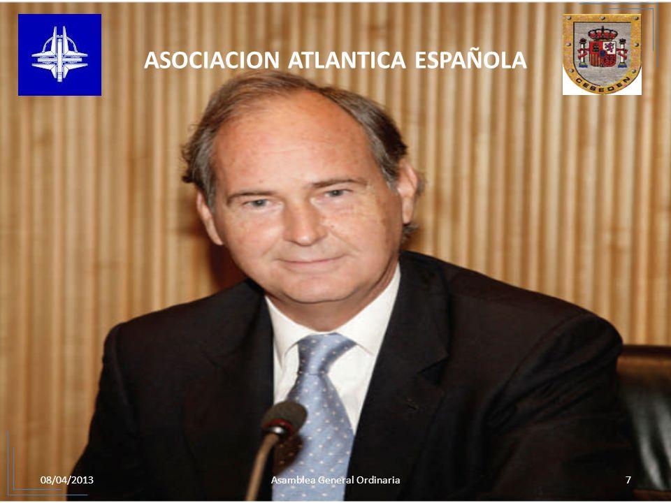 08/04/20138Asamblea General Ordinaria ASOCIACION ATLANTICA ESPAÑOLA DESAYUNO TRABAJO CON LOS PERIODISTAS ESPECIALIZADOS EN DEFENSA.