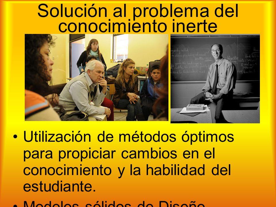 Solución al problema del conocimiento inerte Utilización de métodos óptimos para propiciar cambios en el conocimiento y la habilidad del estudiante.