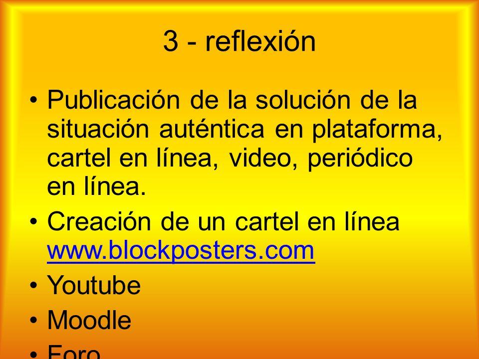 3 - reflexión Publicación de la solución de la situación auténtica en plataforma, cartel en línea, video, periódico en línea.