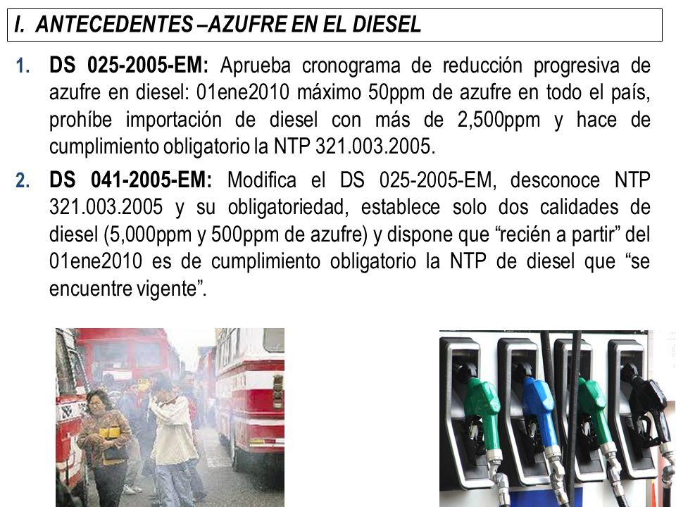 I. ANTECEDENTES –AZUFRE EN EL DIESEL 1. DS 025-2005-EM: Aprueba cronograma de reducción progresiva de azufre en diesel: 01ene2010 máximo 50ppm de azuf