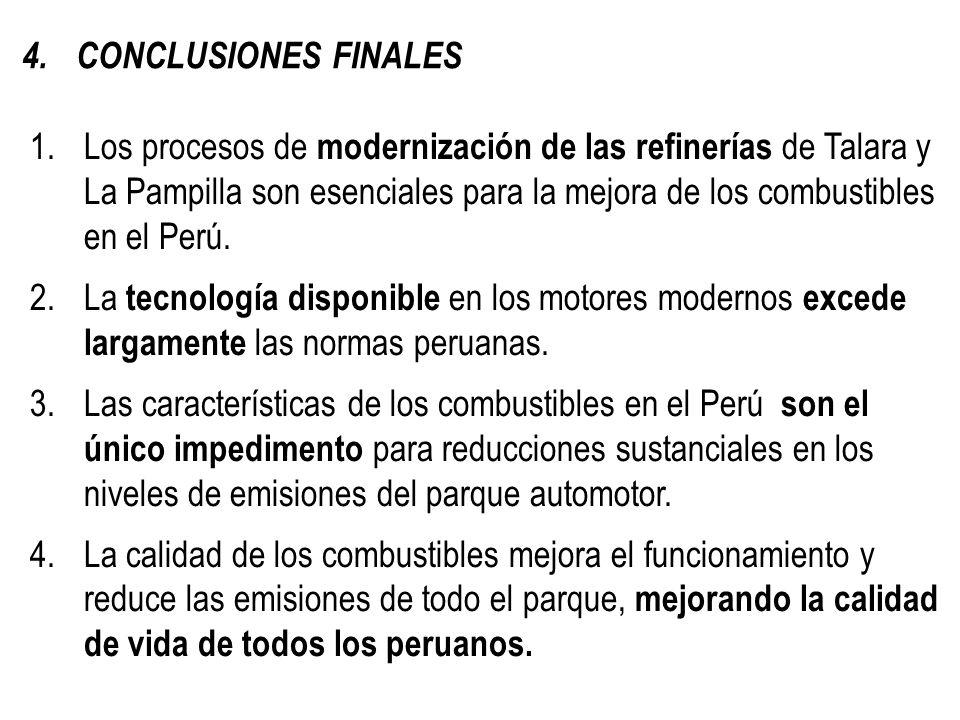 1.Los procesos de modernización de las refinerías de Talara y La Pampilla son esenciales para la mejora de los combustibles en el Perú. 2.La tecnologí
