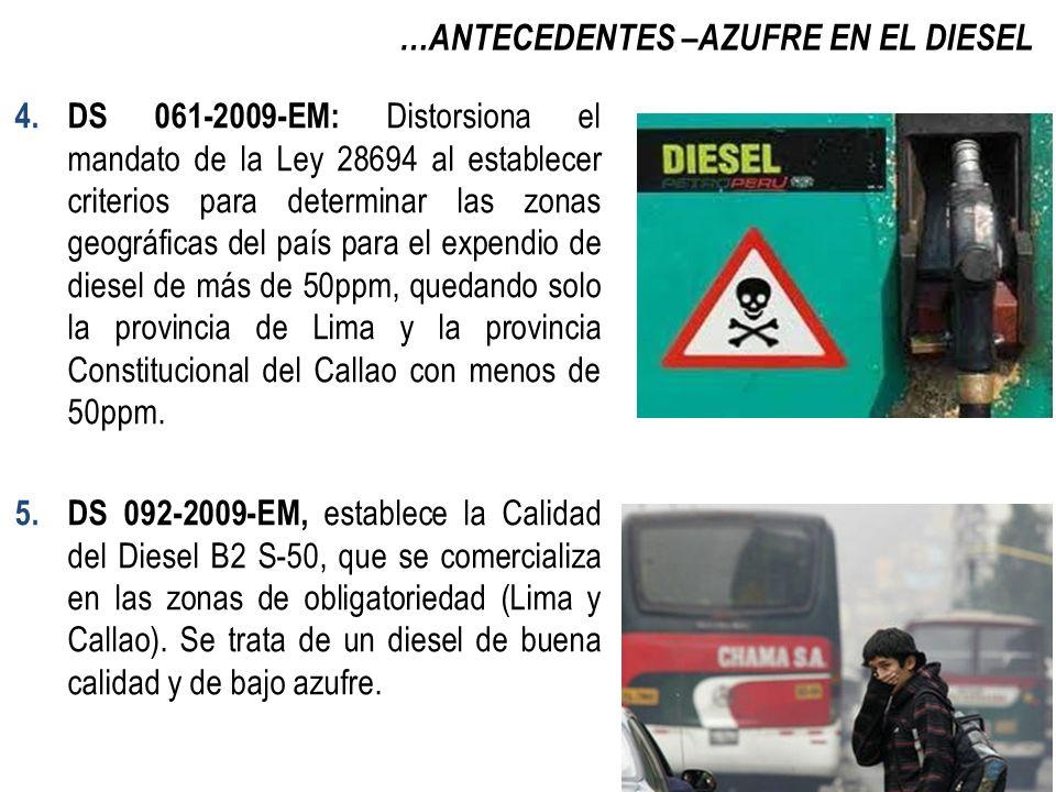 …ANTECEDENTES –AZUFRE EN EL DIESEL 6.RM 139-2012-EM ( Publicada el 18.Marzo.2012) Prohíbe a partir del 17 de julio del 2012, la comercialización y uso del Diesel B5 con contenido de azufre de más de 50ppm en el departamento de Lima, la Provincia Constitucional del Callao, y los departamentos de Arequipa, Puno, Cuzco y Madre de Dios.