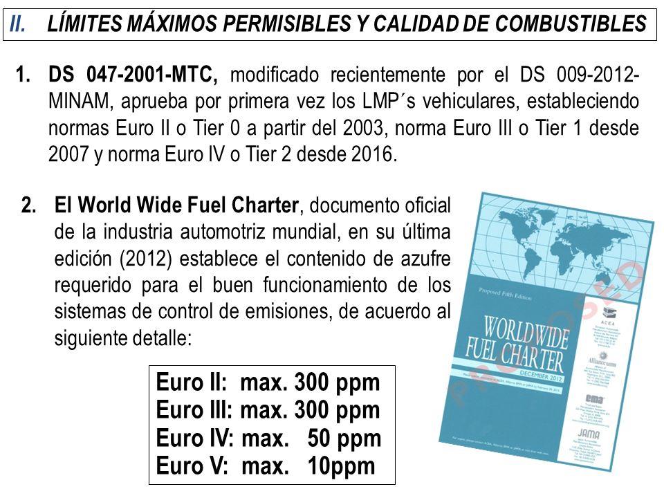 II.LÍMITES MÁXIMOS PERMISIBLES Y CALIDAD DE COMBUSTIBLES 1.DS 047-2001-MTC, modificado recientemente por el DS 009-2012- MINAM, aprueba por primera ve