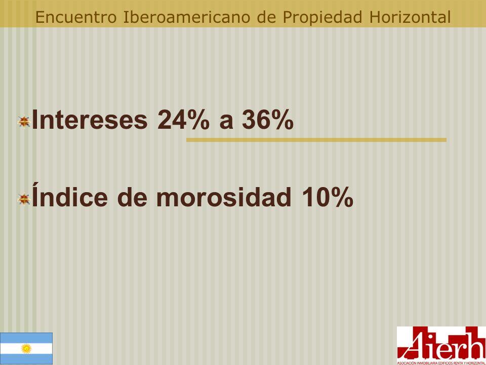 Encuentro Iberoamericano de Propiedad Horizontal Intereses 24% a 36% Índice de morosidad 10%