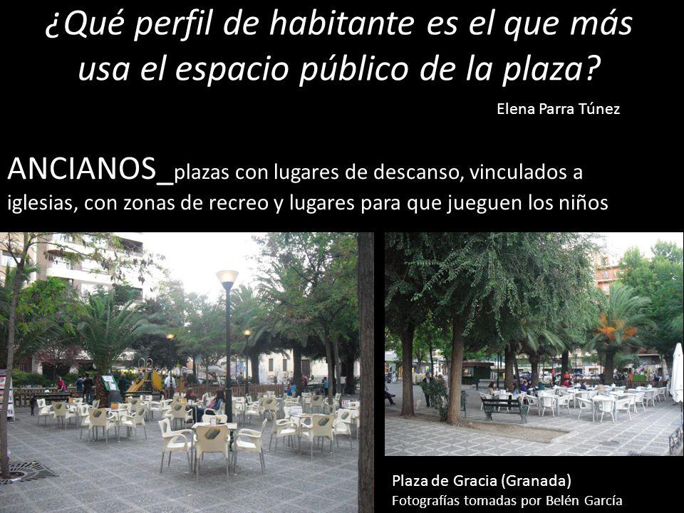 ¿Qué perfil de habitante es el que más usa el espacio público de la plaza? ANCIANOS_ plazas con lugares de descanso, vinculados a iglesias, con zonas