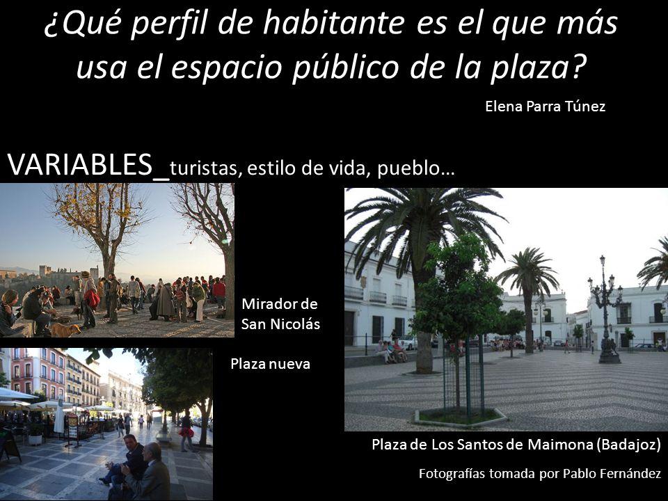 ¿Qué perfil de habitante es el que más usa el espacio público de la plaza? VARIABLES_ turistas, estilo de vida, pueblo… Elena Parra Túnez Plaza de Los