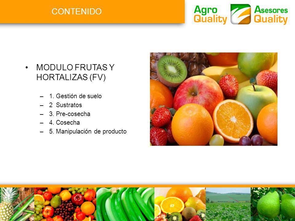 CONTENIDO MODULO FRUTAS Y HORTALIZAS (FV) –1. Gestión de suelo –2 Sustratos –3. Pre-cosecha –4. Cosecha –5. Manipulación de producto