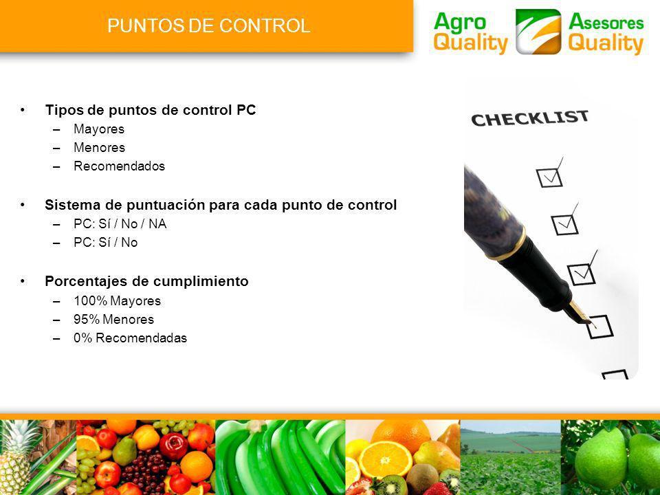 PUNTOS DE CONTROL Tipos de puntos de control PC –Mayores –Menores –Recomendados Sistema de puntuación para cada punto de control –PC: Sí / No / NA –PC