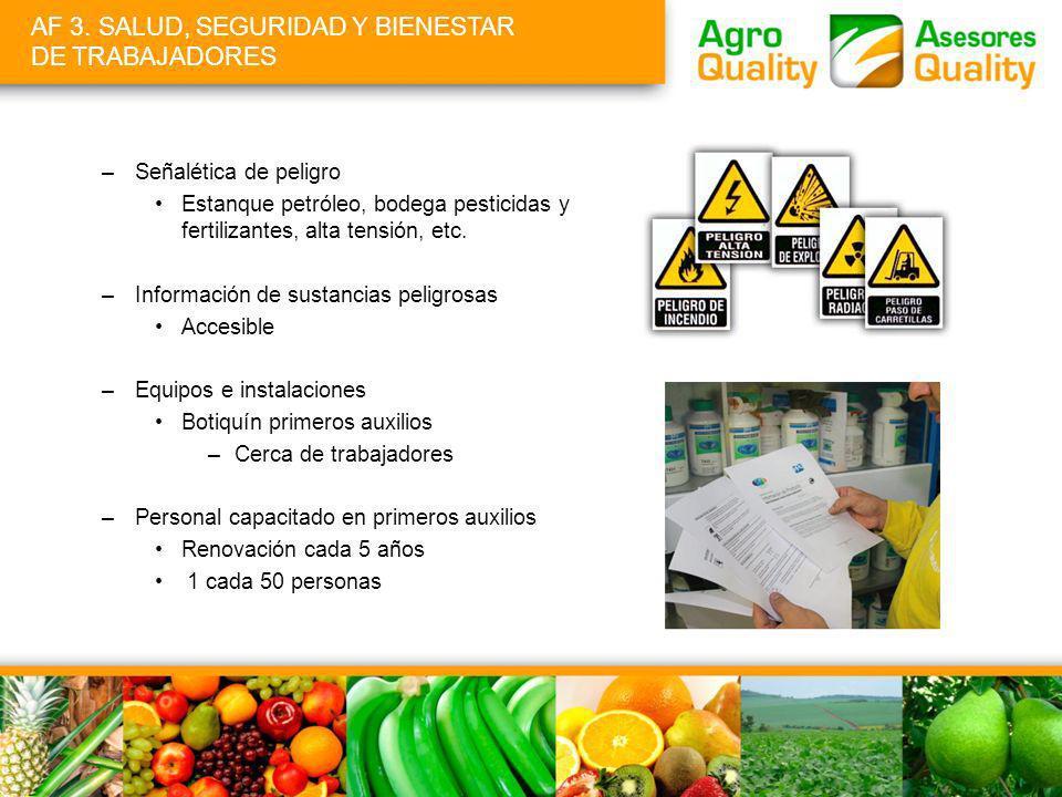AF 3. SALUD, SEGURIDAD Y BIENESTAR DE TRABAJADORES –Señalética de peligro Estanque petróleo, bodega pesticidas y fertilizantes, alta tensión, etc. –In