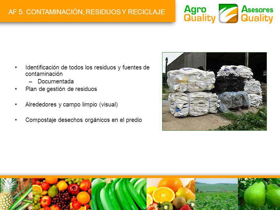 AF 5. CONTAMINACIÓN, RESIDUOS Y RECICLAJE Identificación de todos los residuos y fuentes de contaminación –Documentada Plan de gestión de residuos Alr