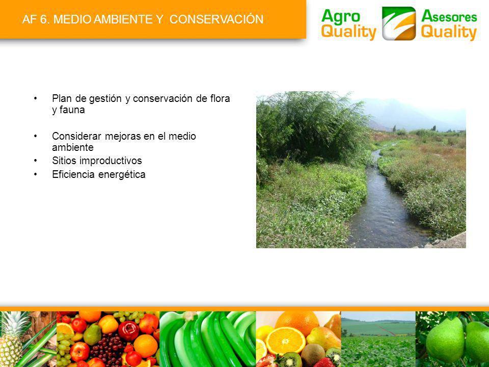 AF 6. MEDIO AMBIENTE Y CONSERVACIÓN Plan de gestión y conservación de flora y fauna Considerar mejoras en el medio ambiente Sitios improductivos Efici