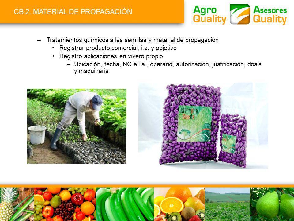 CB 2. MATERIAL DE PROPAGACIÓN –Tratamientos químicos a las semillas y material de propagación Registrar producto comercial, i.a. y objetivo Registro a