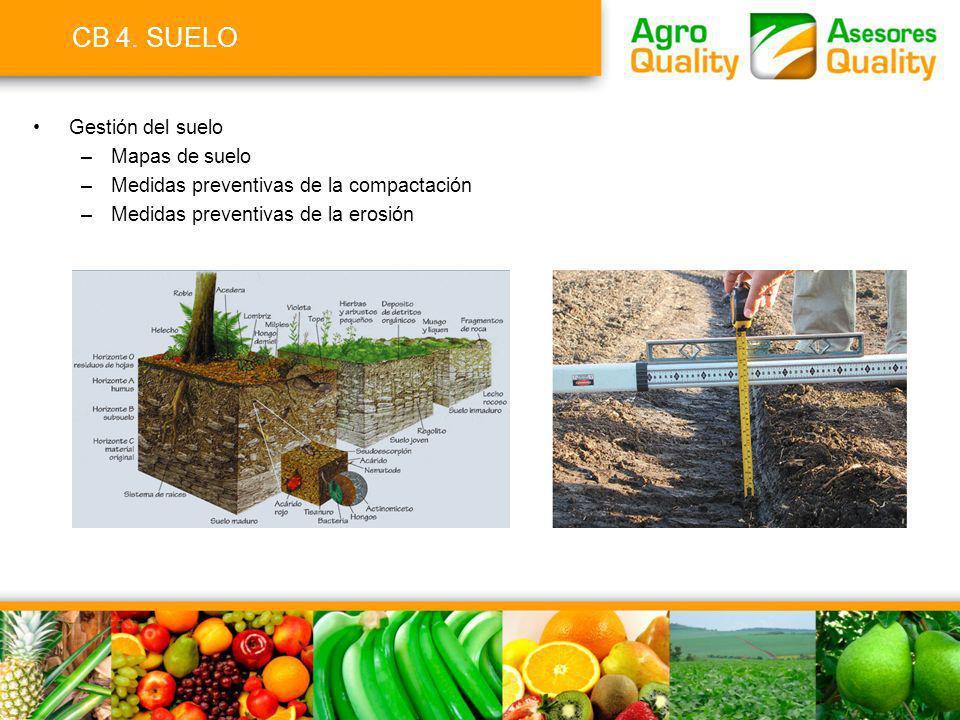 CB 4. SUELO Gestión del suelo –Mapas de suelo –Medidas preventivas de la compactación –Medidas preventivas de la erosión