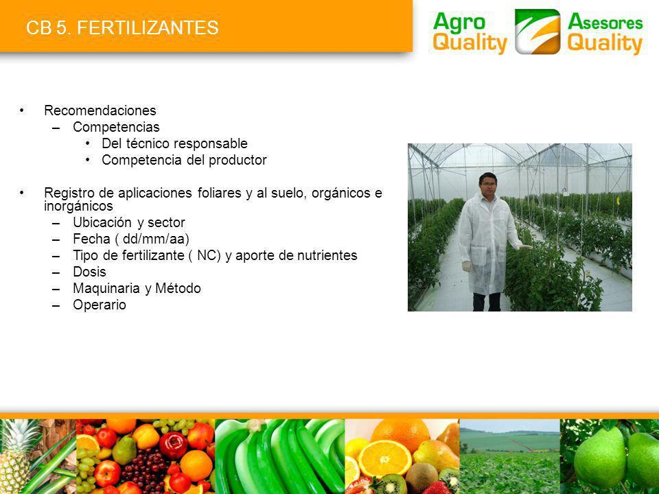 CB 5. FERTILIZANTES Recomendaciones –Competencias Del técnico responsable Competencia del productor Registro de aplicaciones foliares y al suelo, orgá