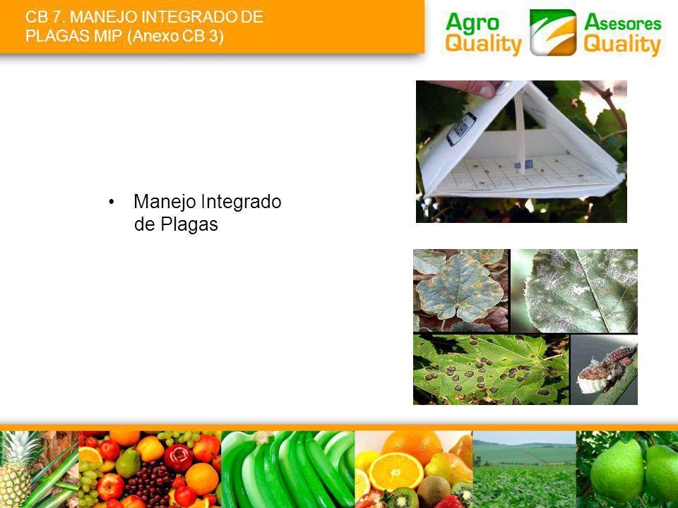 CB 7. MANEJO INTEGRADO DE PLAGAS MIP (Anexo CB 3) Manejo Integrado de Plagas