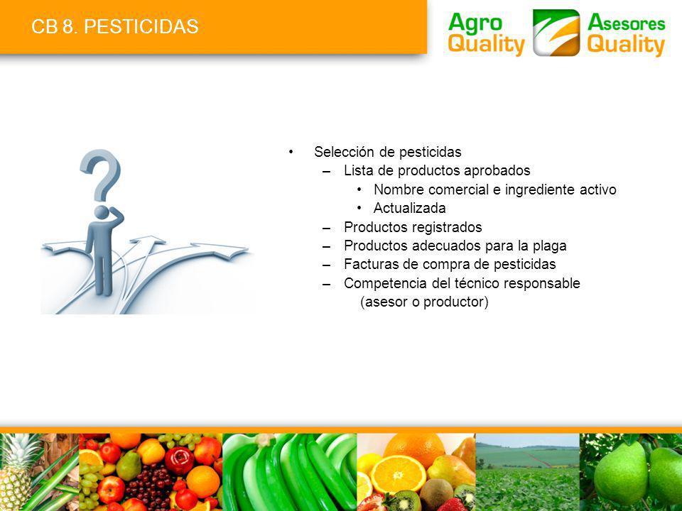 CB 8. PESTICIDAS Selección de pesticidas –Lista de productos aprobados Nombre comercial e ingrediente activo Actualizada –Productos registrados –Produ
