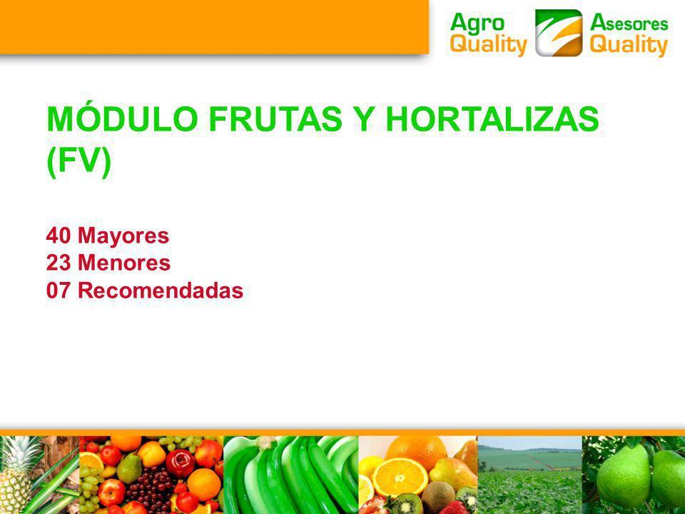 MÓDULO FRUTAS Y HORTALIZAS (FV) 40 Mayores 23 Menores 07 Recomendadas