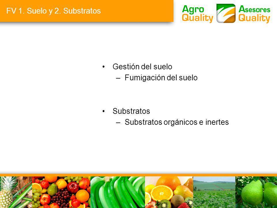 FV 1. Suelo y 2. Substratos Gestión del suelo –Fumigación del suelo Substratos –Substratos orgánicos e inertes