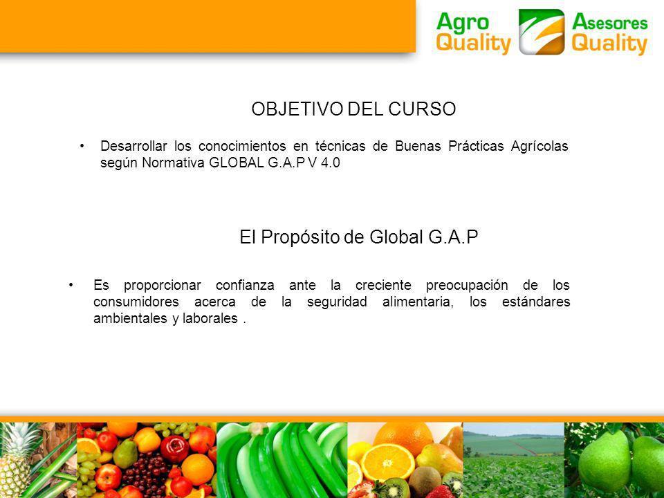 OBJETIVO DEL CURSO Desarrollar los conocimientos en técnicas de Buenas Prácticas Agrícolas según Normativa GLOBAL G.A.P V 4.0 Es proporcionar confianz