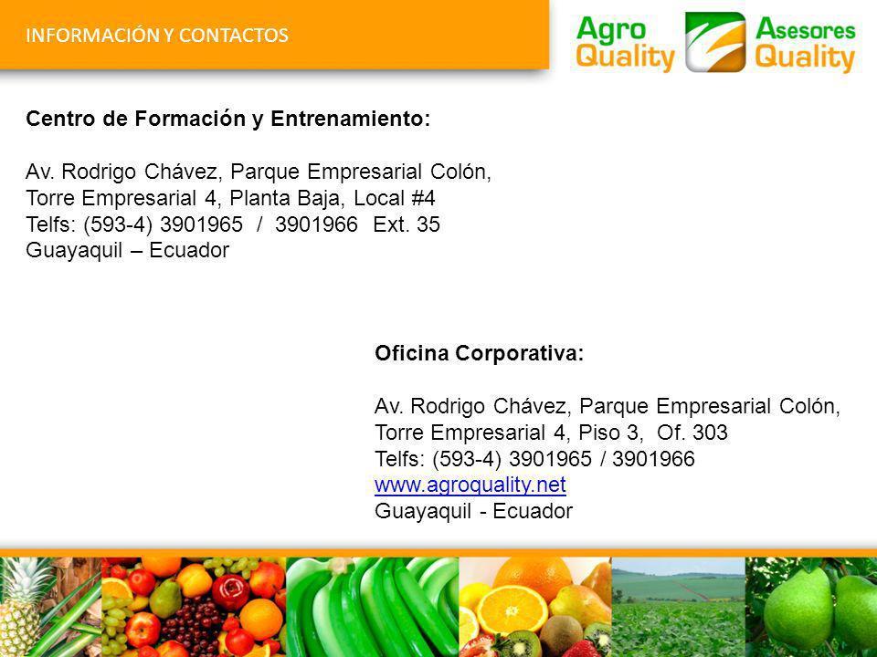 INFORMACIÓN Y CONTACTOS Centro de Formación y Entrenamiento: Av. Rodrigo Chávez, Parque Empresarial Colón, Torre Empresarial 4, Planta Baja, Local #4