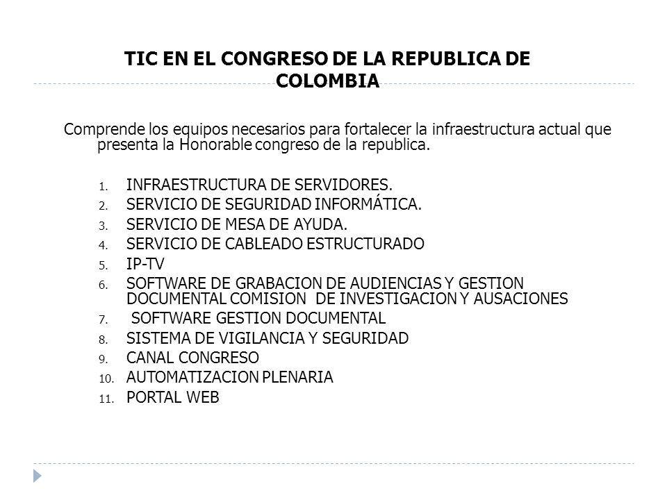 Comprende los equipos necesarios para fortalecer la infraestructura actual que presenta la Honorable congreso de la republica.